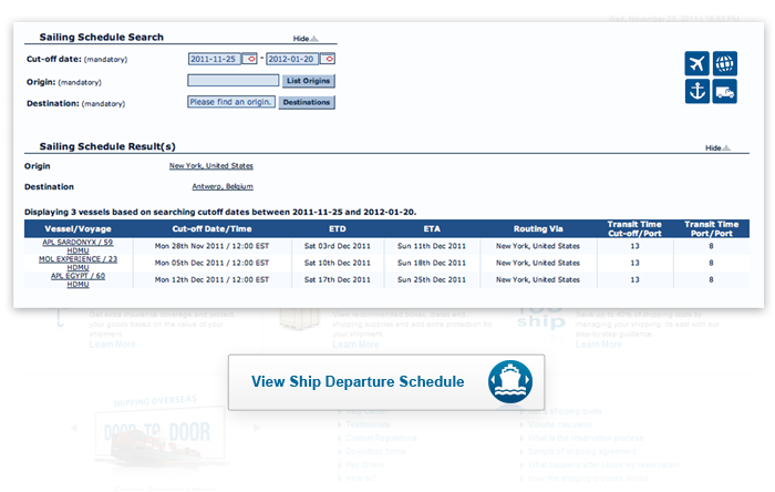 Ship Departure Schedule